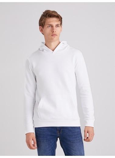Dufy Düz Kapüşonlu Erkek Sweatshirt - Regular Fit Beyaz